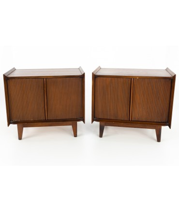 Lane First 1st Edition Mid Century Nightstand Media Record Cabinets - Matching Pair
