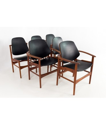 Arne Vodder for Bovirke Danish Teak and Leather Dining Chairs - Set of 6