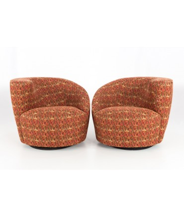 Vladimir Kagan Mid Century Nautilus Swivel Barrel Lounge Chairs - Matching Pair