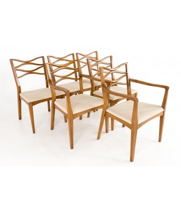 Johannes Anderson 101 Style Mid Century Walnut Bowtie Dining Chairs - Set of 6