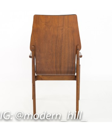 Lane First 1st Edition Arne Vodder Style Walnut and Vinyl Highback Dining Chairs - Set of 6