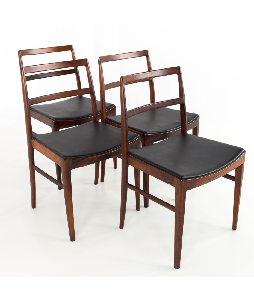 Arne Vodder for Sibast 430 Rosewood and Leather Dining Chairs - Set of 4