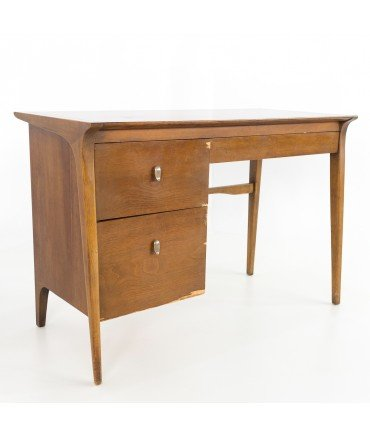 John Van Koert for Drexel Mid Century Pecan Single Sided Desk