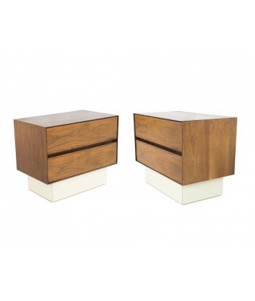 H Paul Browning for Stanley Furniture Walnut and Rosewood Thin Edge Platform Nightstands - Matching Pair