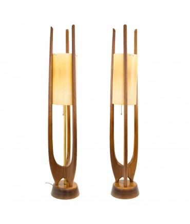 Modeline Adrian Pearsall Style Mid Century Walnut Sculptural Table Lamps