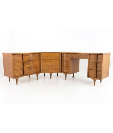 Johnson Carper Mid Century Modern 3 piece Corner Walnut and Formica Dresser Desk