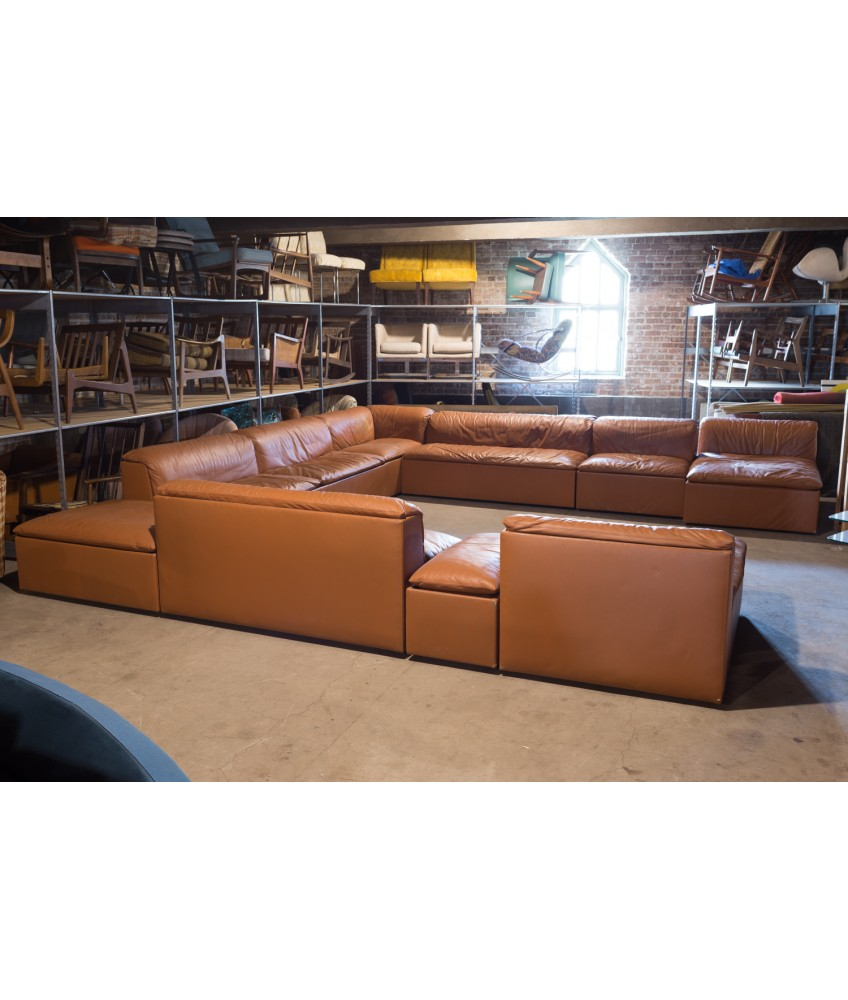 1950s Italian Leather Pit Sectional Sofa