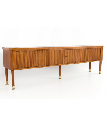 Stow and Davis Mid Century Extra Long Walnut Tambour Door Sideboard Credenza Console