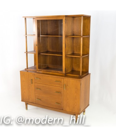 Mid Century Drexel China Cabinet Buffet and Hutch