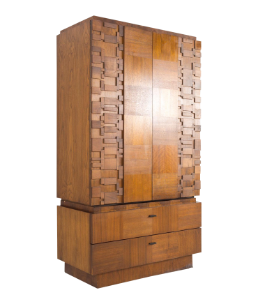 Lane Brutalist Mid Century 2 piece Walnut Armoire Gentlemans Chest Highboy Dresser