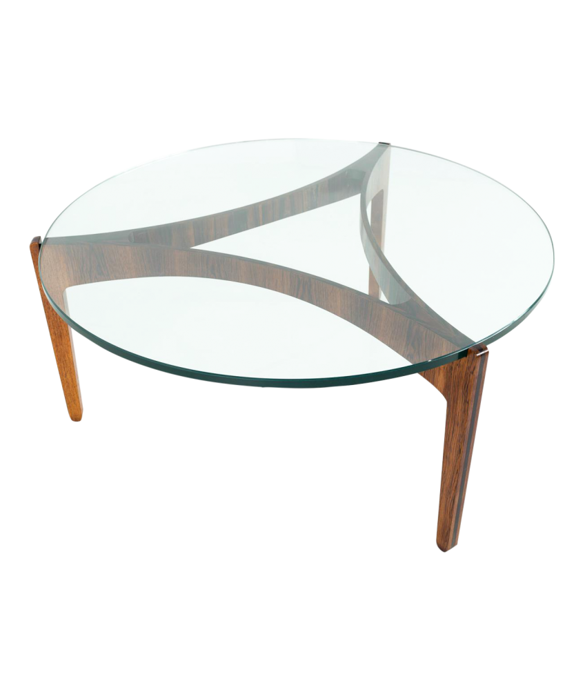 Tremendous Sven Elekjaer Mid Century Modern Rosewood And Glass Round Coffee Table Home Interior And Landscaping Oversignezvosmurscom