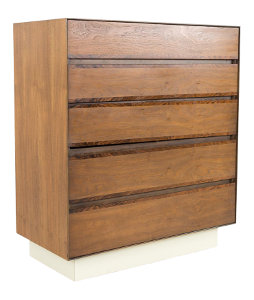 H Paul Browning for Stanley Furniture Walnut and Rosewood Thin Edge Platform 5 Drawer Mid Century Highboy Dresser