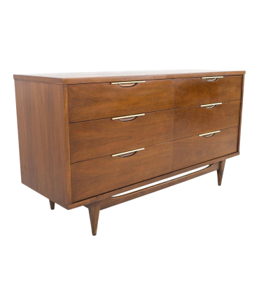 Kent Coffey Tableau Mid Century Walnut 6 Drawer Lowboy Dresser