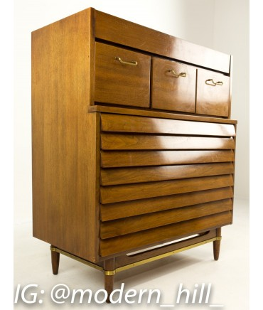 Merton Gershun American of Martinsville Louvered Highboy Dresser Chest