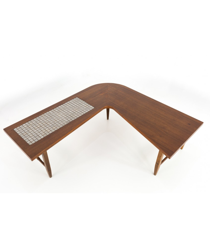 Outstanding Lane Boomerang Walnut And Mosaic Tile Mid Century Coffee Table Evergreenethics Interior Chair Design Evergreenethicsorg