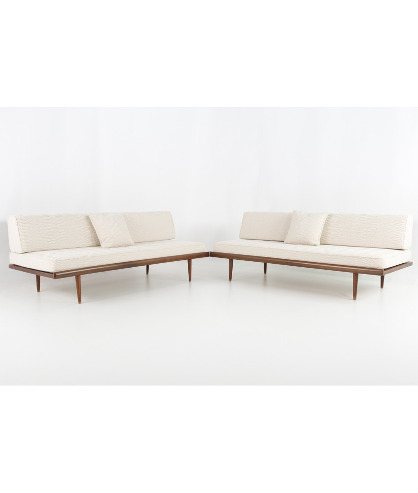 Mid Century Modern Danish Style Daybed Sofas Matching Pair