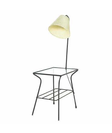 Paul McCobb George Nelson Style Mid Century Iron and Glass Lighted Side End Table Lamp