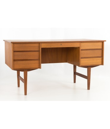 Mid Century Modern Danish Teak Floating 2 Sided Executive Desk with Display Shelf