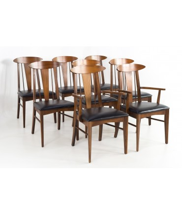 Garrison Cats Eye Mid Century Walnut and Vinyl Dining Chairs - Set of 8