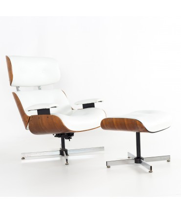 Eames Style Plycraft White Leather and Walnut Lounge Chair and Ottoman
