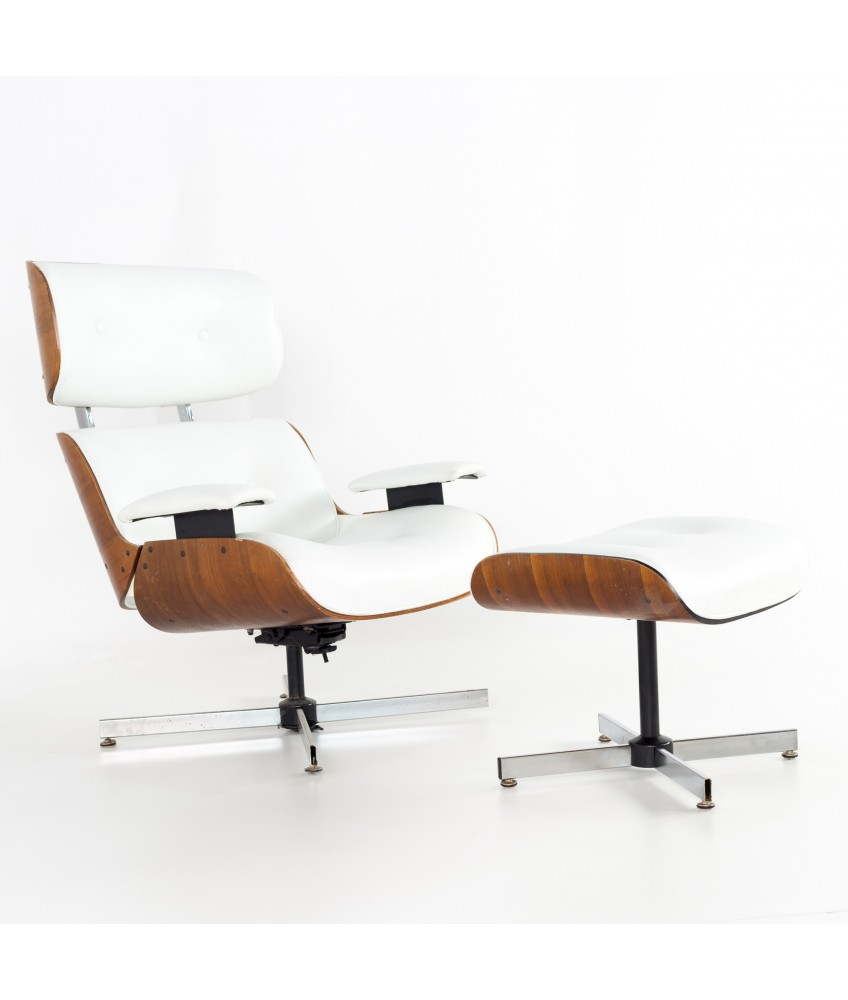 Stupendous Eames Style Plycraft White Leather And Walnut Lounge Chair And Ottoman Squirreltailoven Fun Painted Chair Ideas Images Squirreltailovenorg