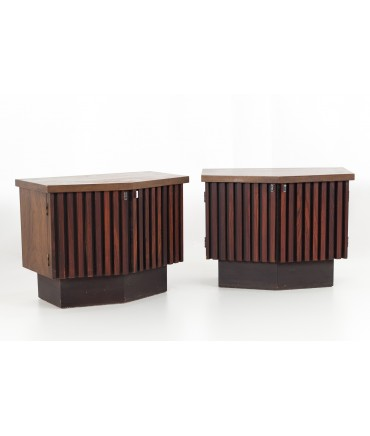Lane Tower Suite Mid Century Walnut and Rosewood Platform Nightstands - Matching Pair