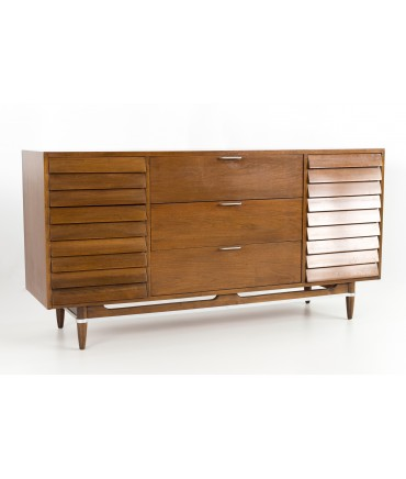 Merton Gershun for American of Martinsville Mid Century Walnut and Chrome 9 Drawer Lowboy Dresser