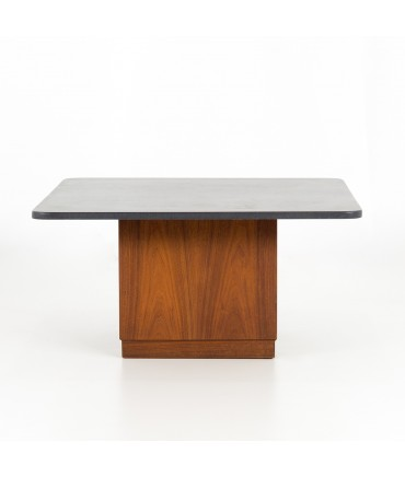 Founders Mid Century Walnut and Slate Top Cubed Cocktail Coffee Table