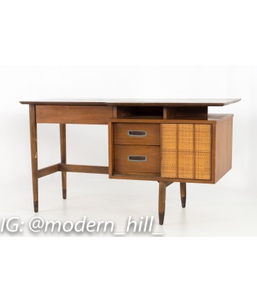 Mainline by Hooker Mid Century Single Sided Walnut and Rattan Floating Desk with Display Shelf
