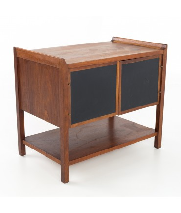 Dillingham Mid Century Walnut Nightstand Record Cabinet Side End Table