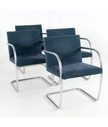 Mies Van Der Rohe for Knoll Brno Tubular Dining Side or Occasional Chairs - Set of 4
