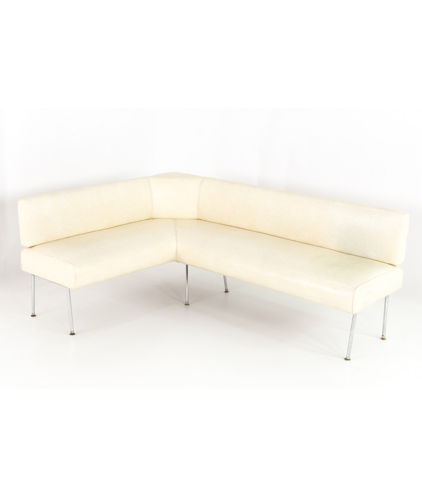 Tremendous George Nelson Style Mid Century White Vinyl Corner Bench Beatyapartments Chair Design Images Beatyapartmentscom