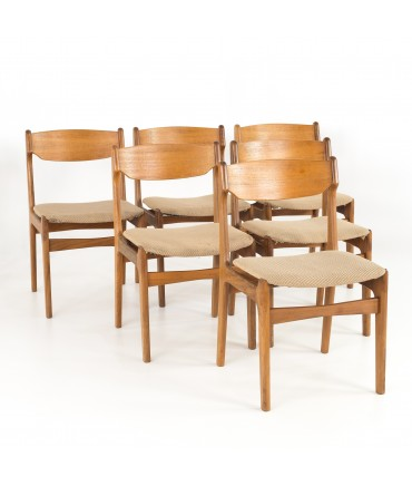 Erik Buck Mid Century Modern Danish Teak Dining Chairs Set Of 6