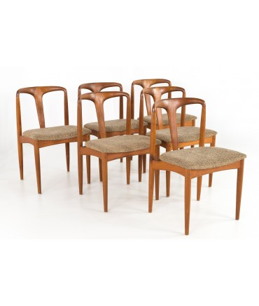 Johannes Andersen Juliane Style Mid Century Teak Dining Chairs - Set of 6