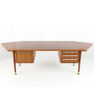 Stowe and Davis Walnut and Brass Mid Century Executive Desk