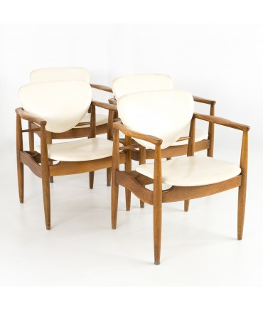 Finn Juhl Style Mid Century Walnut Captains Occasional Dining Desk Chairs - Set of 4