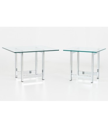 Milo Baughman Style Mid Century Chrome and Glass Side End Tables - Pair