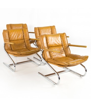 Mid Century Modern Italian Chrome Z Lounge Chairs - Set of 4