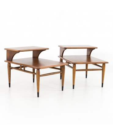 Andre Bus for Lane Acclaim Mid Century Walnut Dovetail Step Side End Tables - Matching Pair