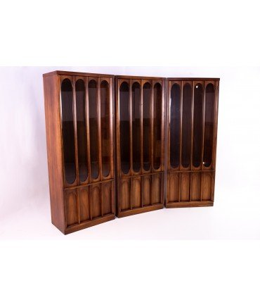 Kent Coffey Perspecta Style Brutalist Shelving Wall Unit Room Divider China Cabinet