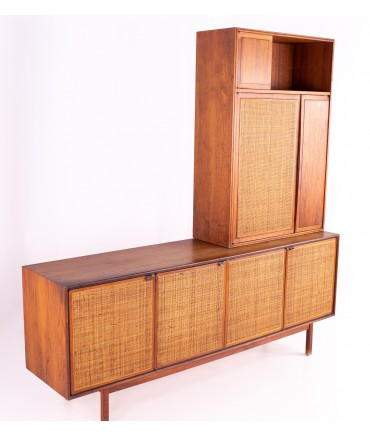 Founders Mid Century Walnut and Cane Buffet & Hutch