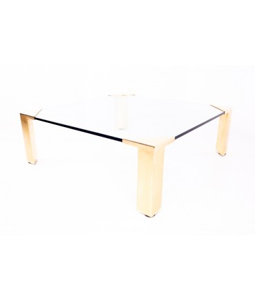 Milo Baughman for Design Institute of America Mid Century Brass and Glass Coffee Table
