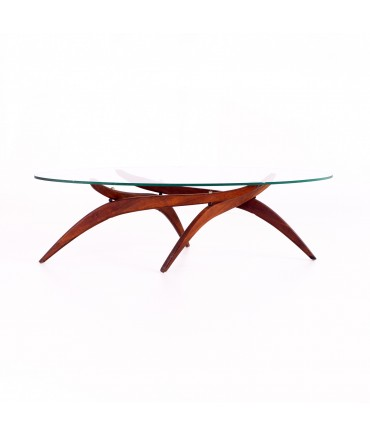 Forest Wilson Walnut and Glass Mid Century Sculptural Surfboard Coffee Table