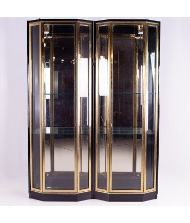 Henredon Black & Brass Mid Century Display Cabinets - Pair
