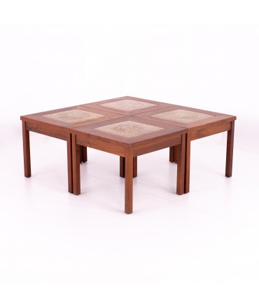 John Keal for Brown Saltman Walnut and Copper Tile 4 Piece Mid Century Coffee Side End Table