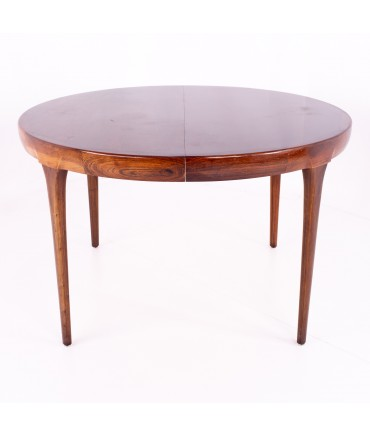 IB Kofod Larsen for Faarup Mobelfabrik Mid Century Rosewood Expanding Circle Oval Dining Table