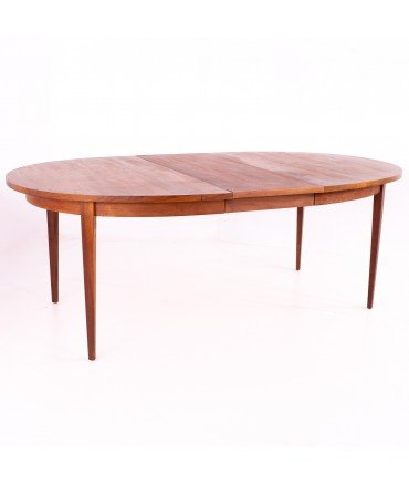 Dillingham Mid Century Round Expanding Walnut Dining Table With 2 Leaves