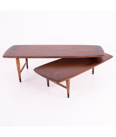 Andre Bus for Lane Acclaim Mid Century Walnut Dovetail Switchblade Coffee Table