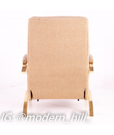 Milo Baughman for DIA Style Mid Century Brass Z Reclining Lounge Chair