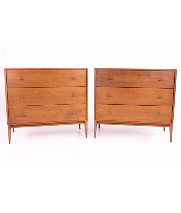 Restored Pair of Paul McCobb for Planner Group Mid Century Maple 3 Drawer Nightstands Dresser Chests